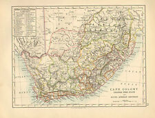 1892 VICTORIAN MAP SOUTH AFRICA CAPE COLONY ORANGE FREE STATE & AFRICAN REPUBLIC