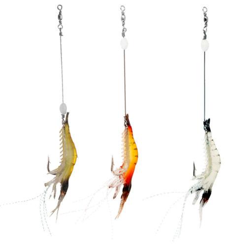 3Pcs//lot Silicone Shrimp Lures Baits Fishing Simulation Prawn Luminous Lures