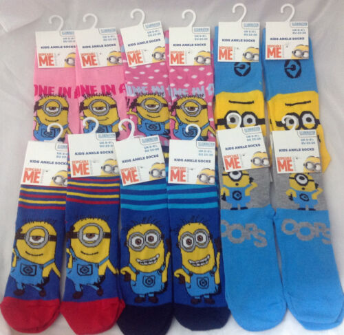 6 X MINIONS DESPICABLE ME ANKLE SOCKS ALL SIZES AVAILABLE GIFT BOYS OR GIRLS
