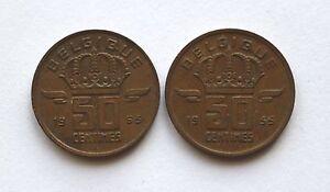 2X-50-Centimes-Belgien-Belgique-Belgie-1955-1965