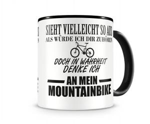 Samunshi Ich denke an mein Mountainbike Tasse Kaffeetasse Teetasse Kaffeepott