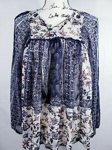 Knox-Rose-Women-039-s-Long-Sleeve-Blue-amp-White-Floral-Chiffon-Boho-Top-XS-NWT