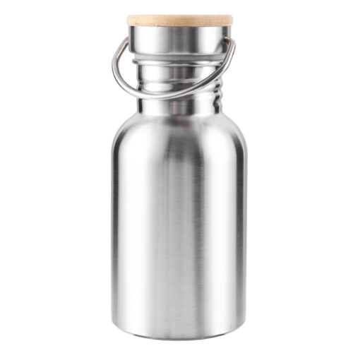 Stainless Steel Wide Mouth Drinking Water Bottle Sports Cycle Bamboo Cap CA