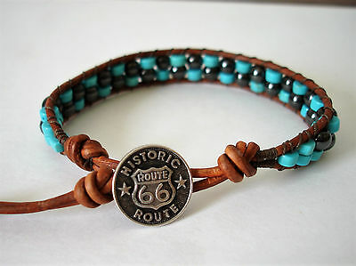 Blue Turquoise & Magnetic Hematite Beaded Leather Wrap Bracelet Handcrafted
