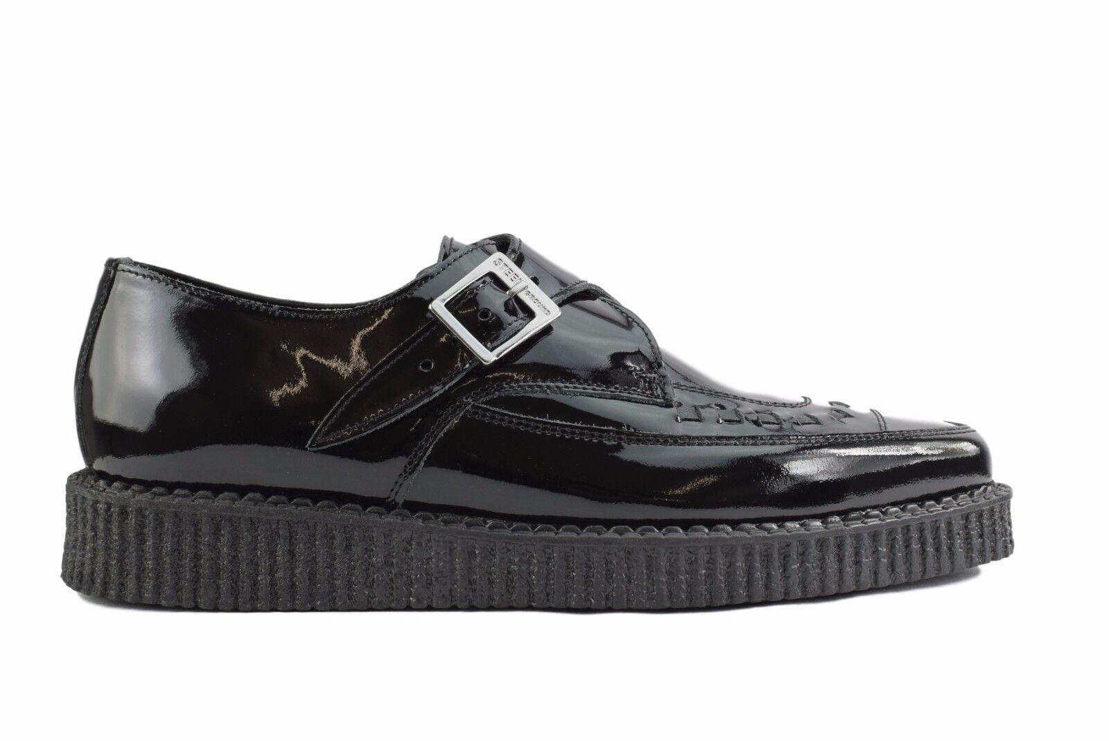 Scarpe di terra in acciaio nera pelle verniciata Creepers Monk Sc200Z175 Buckle A Punta Sc200Z175 Monk ccd32c