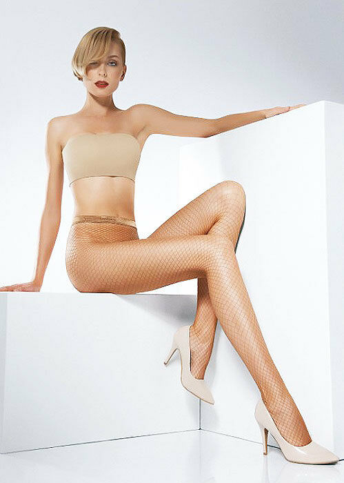NIP   Pierre Mantoux   Nassa Fishnet tights Made in  Nude Caresse S M