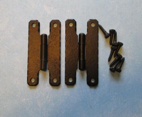 """Vtg flush H hinge hammered black 3"""" x 1 1//2"""" 2 1//2"""" center hole NOS door cabinet"""