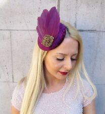 Plum Purple Bronze Statement Feather Fascinator Hair Clip 1940s Hat Races 2411