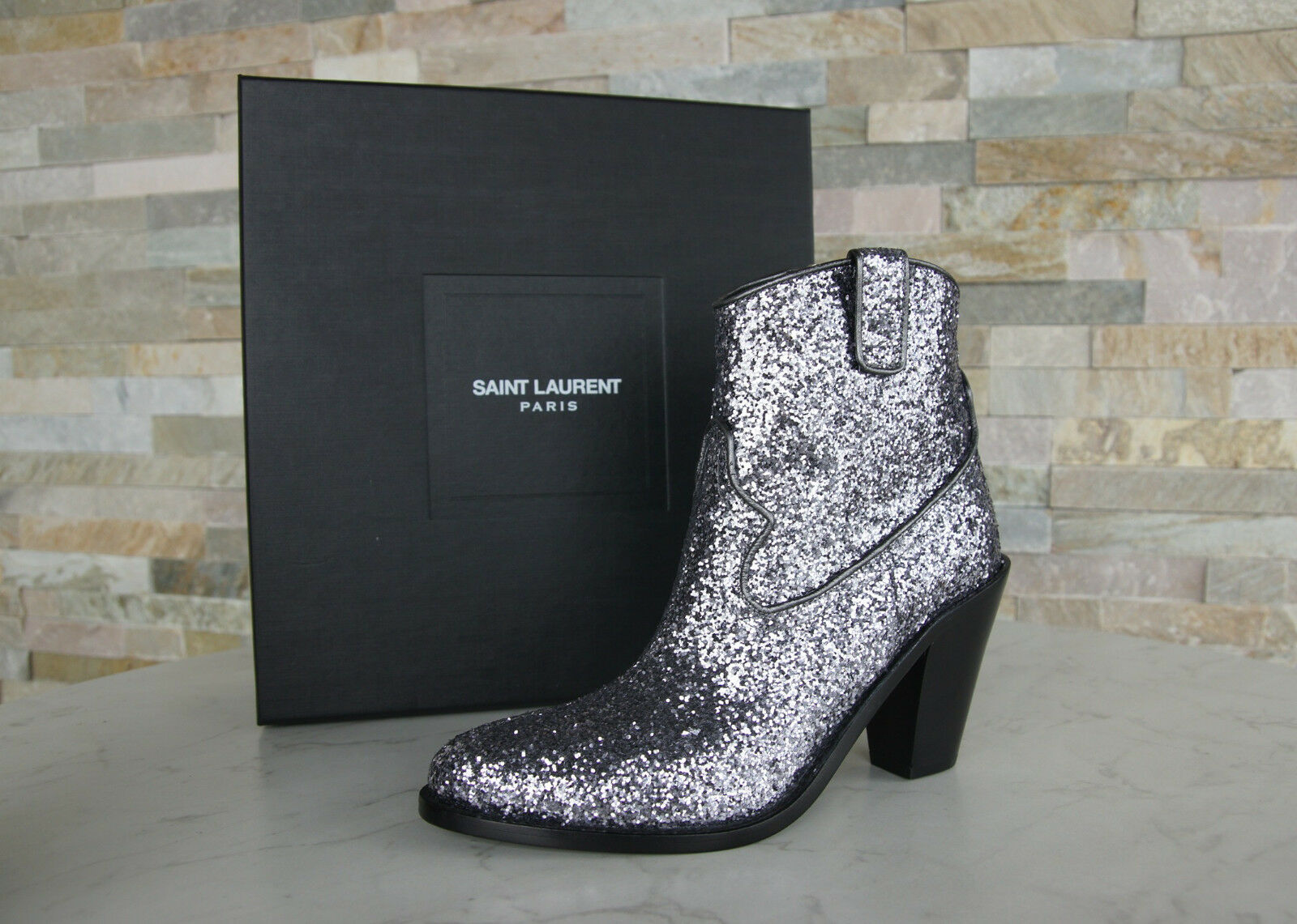Saint laurent botines country glitter Booties zapatos nuevo PVP