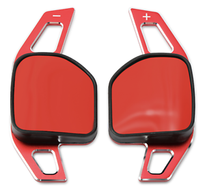 Red Metal Paddle Shift Gear Extensions DSG Shifters For Leon MK3 Cupra