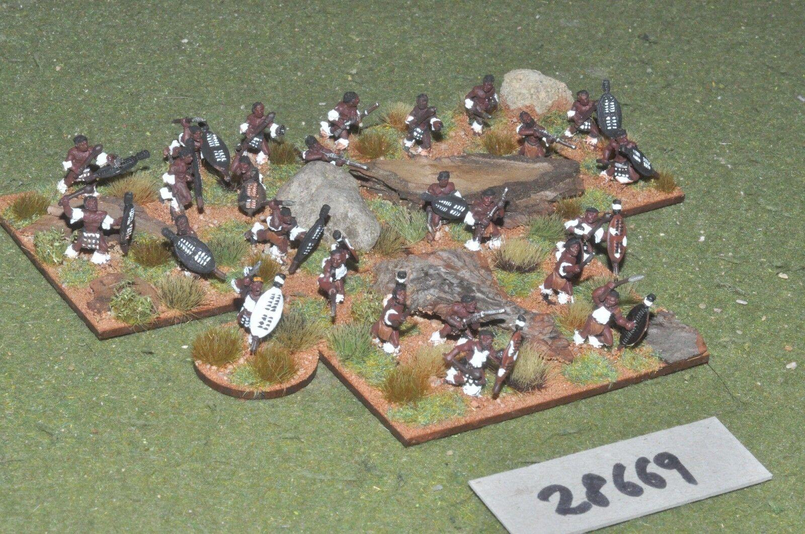 15mm colonial   zulu - warriors 25 figures - inf (28669)