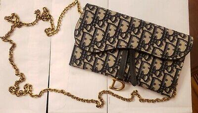 Authentic Christian Dior Oblique Monogram Long Saddle Wallet On Chain Ebay