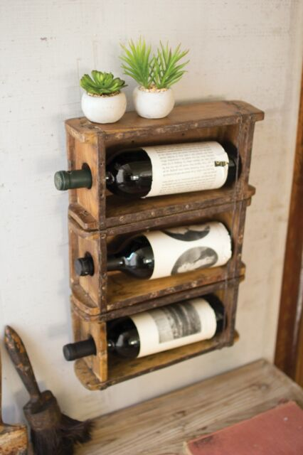 Brick Mold Wine Rack Hanging Vintage Rustic Antique Wood Wall Mounted