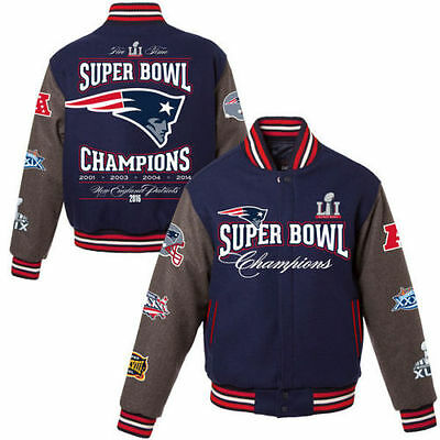NEW England Patriots 5-Time Super Bowl LI Champions Reversible Wool Jacket