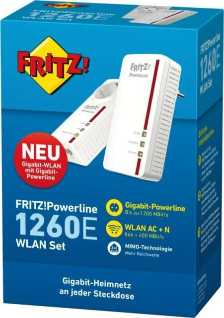 AVM FRITZ!Powerline 1260E WLAN Set 1200 Mbit/s PowerLAN WLAN Gigabit LAN Neu OVP