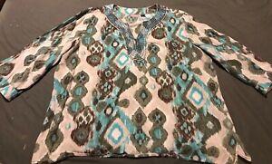 Chico-039-s-Women-Pullover-v-neck-Blue-Multi-Top-Shirt-3-4-Sleeve-Beads-Sz-3-16
