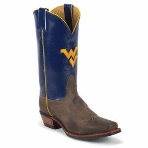 Nocona-MDWV21-Men-039-s-West-Virginia-Blue-Tan-Vintage-Cowhide-Branded-College-Boots