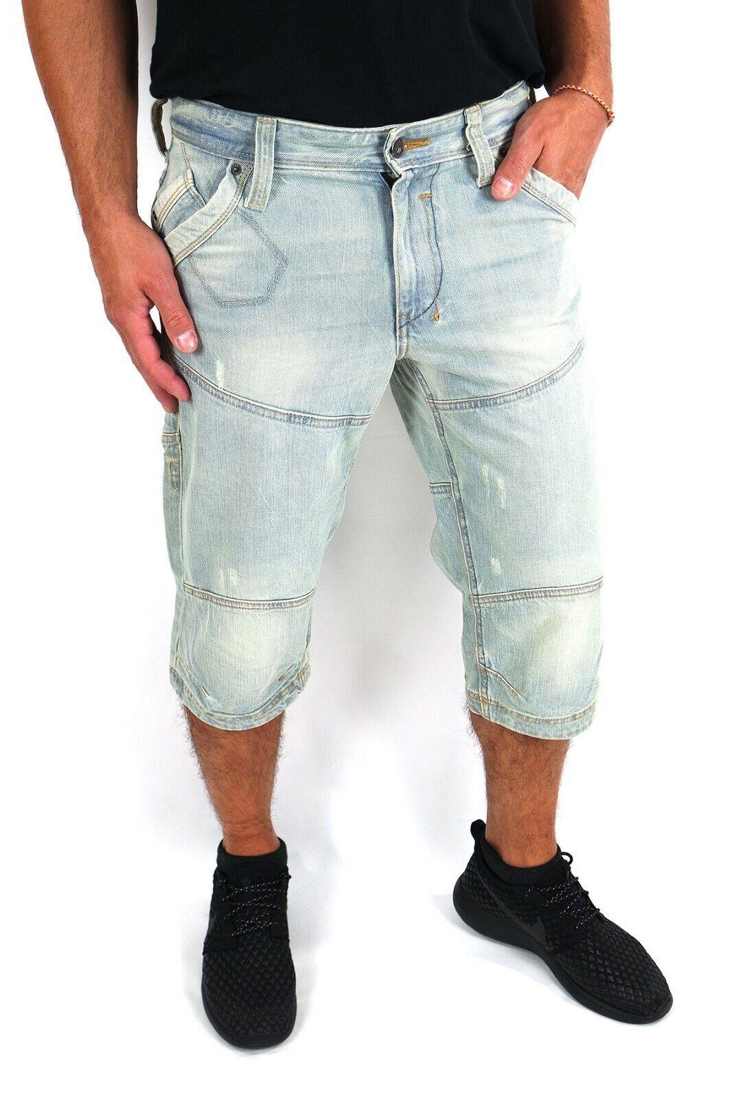 Mustang Men Jeans Shorts Kansas W32 Slim Fit Straight Leg Light Aged Cotton