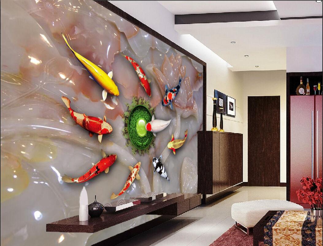 3D Carved Lakes Carp 724 Wallpaper Mural Paper Wall Print Wallpaper Murals UK