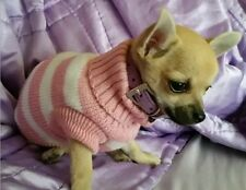 Chihuahua Size (XSmall) Pink & White Striped Knitted Jumper Pet Dog Clothes