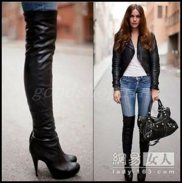 Occident donna Leather Round Toe Over Knee Thigh stivali High Heels Riding scarpe