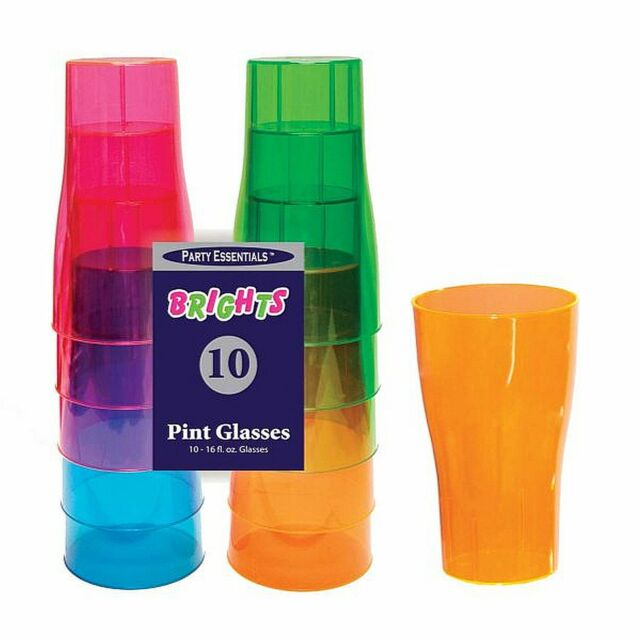 1 Of Party Essentials 16 Oz Plastic Pint Glasses Assorted Neon 10 Ct Ebay