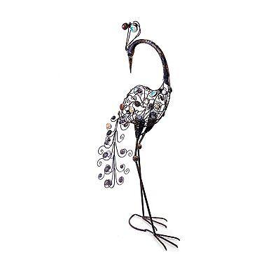 Large Freestanding Peacock Bird Garden Ornament Decorative Stones & Metal