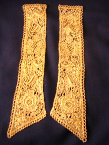 """G14 2 pc Guipure Venice Gold Metallic Applique 11/""""  Medallion Venise Lace"""