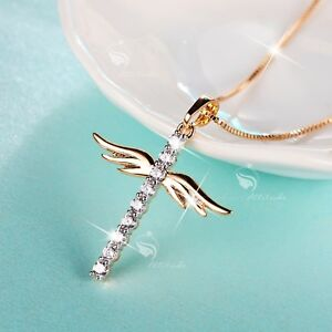 18K-YELLOW-GOLD-MADE-WITH-SWAROVSKI-CRYSTAL-CROSS-ANGEL-WINGS-PENDANT-NECKLACE