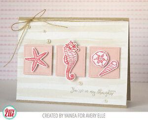 Avery Elle THE REEF clear stamp set & metal dies, seahorse, shells