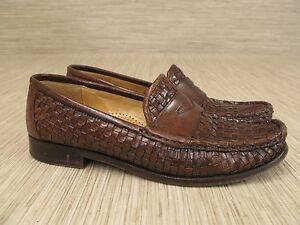 Image is loading Cole-Haan-Brown-Basket-Weave-Leather-Shoes-Women-