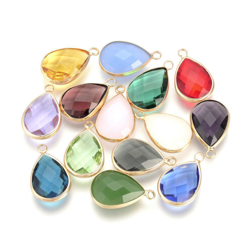 10pcs Glass Faceted Drop Pendants Smooth Mini Dangle Charms DIY Craft 14x7.5mm