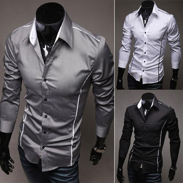 Stylish New Mens Casual Slim Fit Stylish Formal Long Sleeve Dress Shirts Black