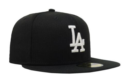 New Era 59 FIFTY Cap Los Angeles Dodgers MLB Noir Blanc Ajusté Gray rembourrages
