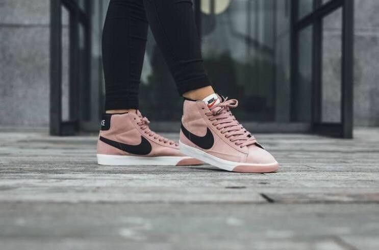 Nike Mid Blazer Vintage Trainers Pink And Black