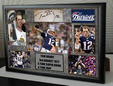 """Tom Brady de New England Patriots Lona retrato enmarcado Firmado """"gran regalo"""""""