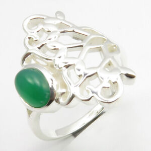 925-Solid-Sterling-Silver-Green-Onyx-Ring-Size-7-Classic-Gemstone-Jewelry