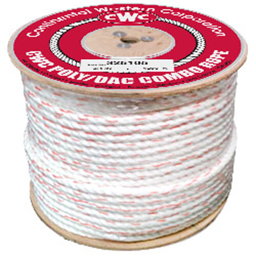 CWC 3-Strand Poly Dacron Rope - 1 2  x 600 ft., White w tracers