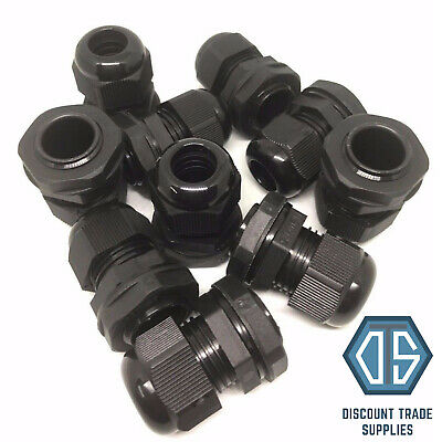 10 x 25mm Waterproof IP68 Compression Cable Stuffing Gland With Locknuts