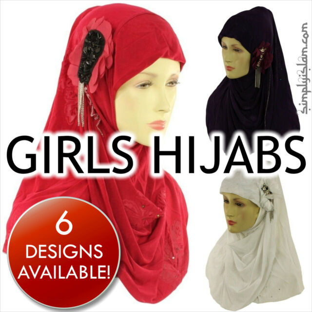 Girls One Piece Flower Hijab Scarf with metalic flower chain design