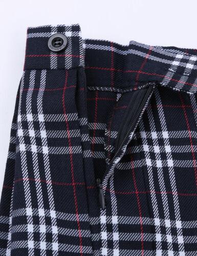 Damen Rock Hohe Taille Kariert Minirock Faltenrock Schulmädchen Uniform Kostüm