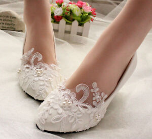 61089e5ecea3d Details about Lace Wedding Shoes Pearls Bridal shoes High Low Heels flat  shoes pump size 5-12