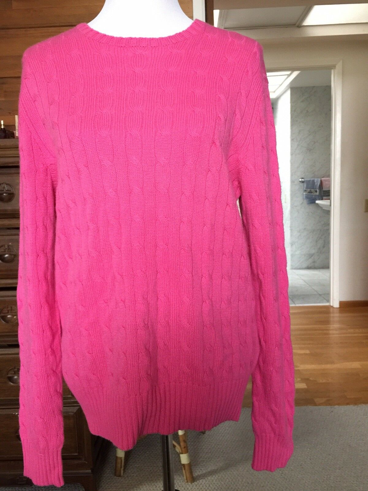 New NWT Polo Ralph Lauren Preppy Pink 100% Cashmere Sweater Size L Large