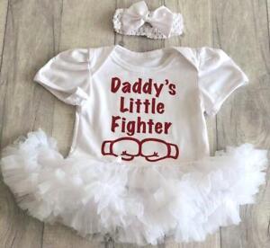 Charitable Daddys Little Fighter Baby Girl Boxe Tutu Ange Nouveau-né Cadeau Mignon Daddys Girl-afficher Le Titre D'origine