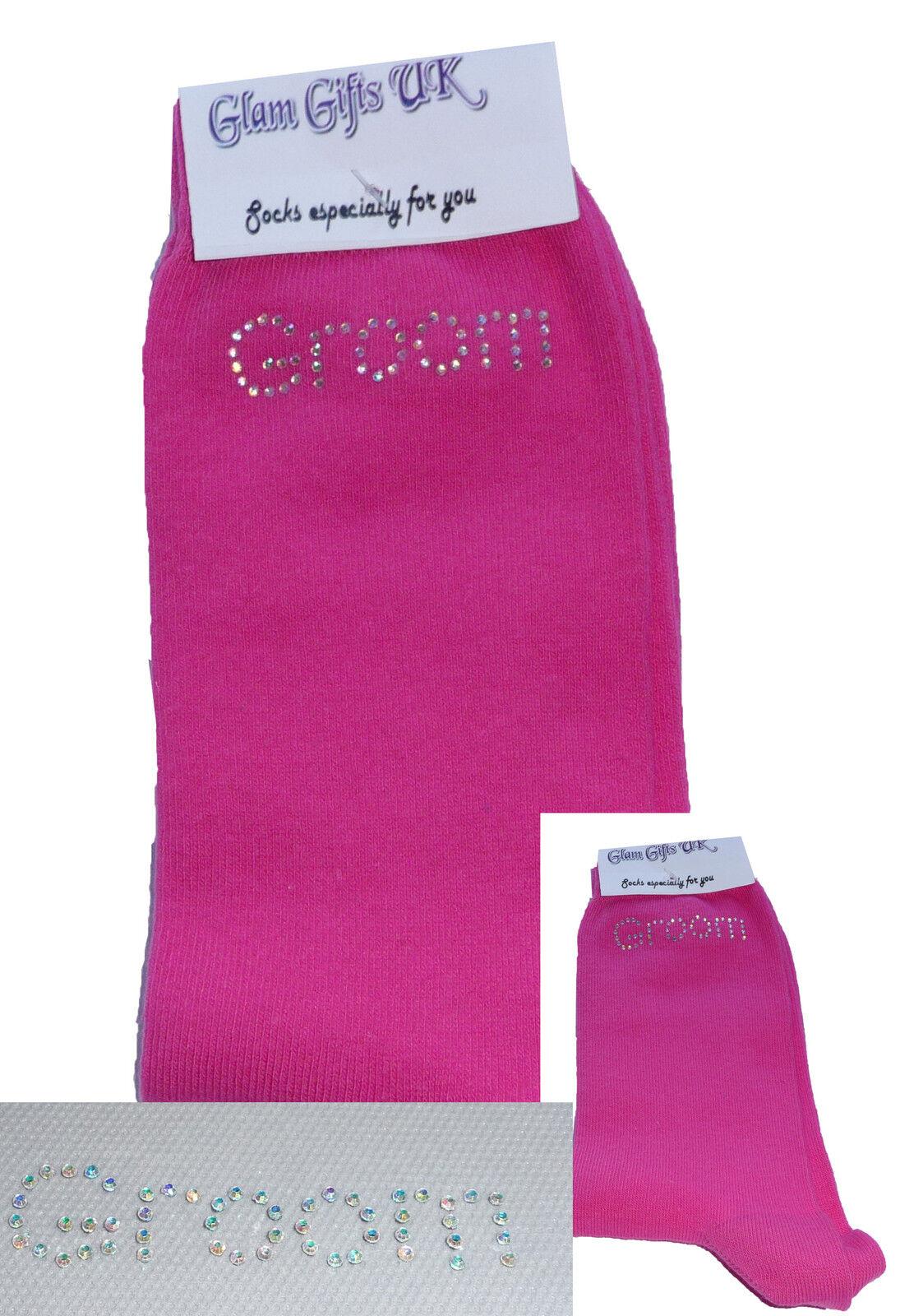 AB Diamante Bling Crystal Mens Hot Pink Wedding Socks