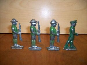 British-Infantry-Soldiers-Vintage-Lot-of-Four-Collectors-age-12-and-up-Die-Ca