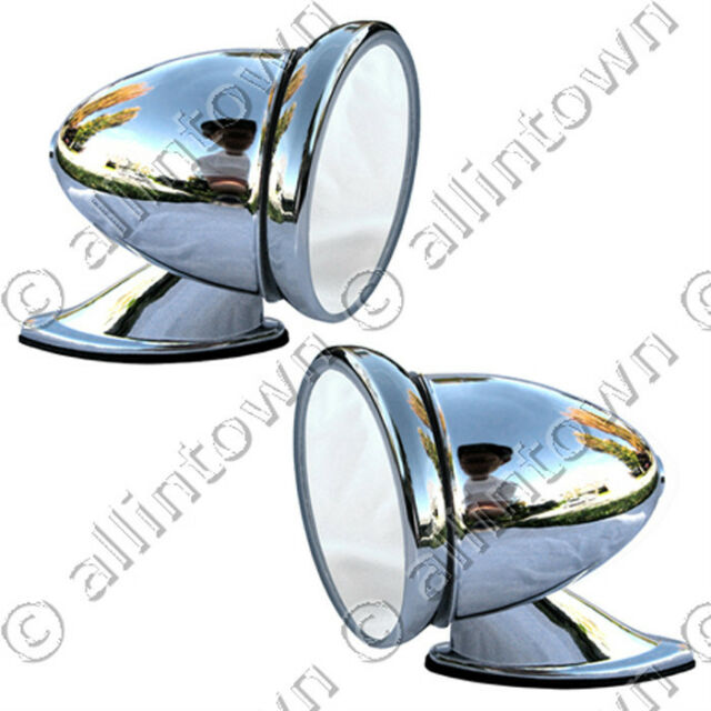 """1960s style chrome GT Side View bullet 4"""" racing mirrors"""