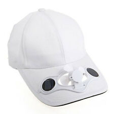 Baseball Solar Fan Hat White Cap Outdoor Camping Traveling Sports