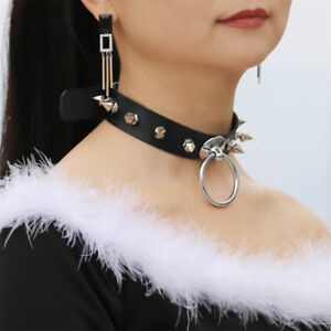 e3b4e8c1afe01 Details about Goth Women Punk Choker PU Leather Rivet Ring Collar Necklace  Pendant Accessories