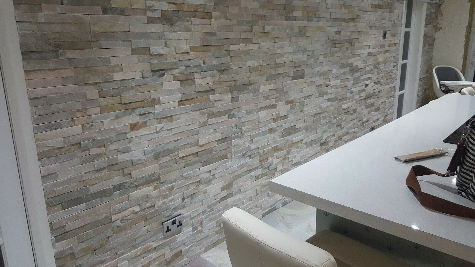 Oyster Random Beige Slate Split Face Cladding Mosaic Tiles for Wall ...